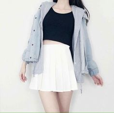 korean fashion white tennis skirt black jacket blue debim