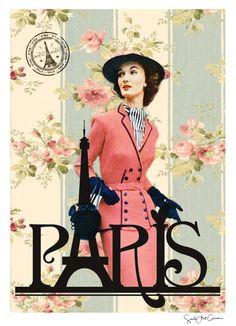 Paris ref.05 vintage neo retro antiguo mujer por SoulArtCorner