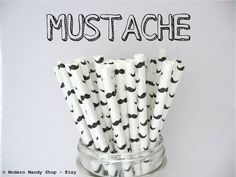 NEW!!! Mustache Paper Straws (Pack of 25 or 50 Straws) **Weddings, Parties, Showers, Gifts** Mustache Party, Little Man Party, Black & White...