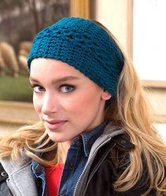 Red Heart: Wide Vortex Headwarmer - free crochet pattern by Shari White. Aran weight.