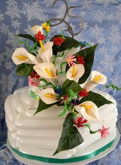25th anniversary  balloon cake with balloon calla lillies and accent balloon flowers.