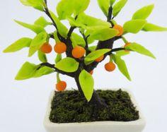 Miniature Bonsai Lucky Tree Polymer Clay Flowers by Mycraftgarden