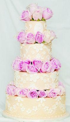 Rose Lace Wedding Cake by Kickass Kakes (Phoenix, AZ)