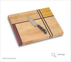 cutting board   Mondrian 3 artistic hand made custom wood cutting board