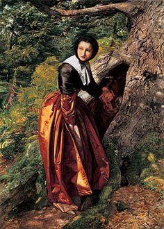 A Cavalier hiding in a hollow tree during the English Civil War kisses the hand of a Puritan lady ~ John Everett Millais