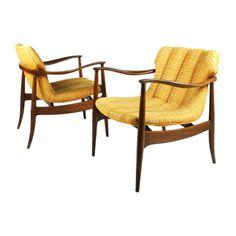 Pair of Sculptural Open Frame Armchairs by Bertha Schaefer | 1stdibs.com