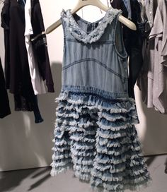 Frayed and reworked denim is a big trend in womenswear right now, here for girlswear at Diesel for spring 2016