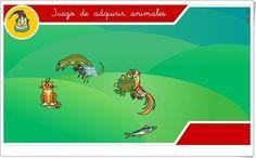 """""""Juego de adquirir animales"""" es un pequeño juego, de """"Internet en el Aula"""", en el que los animales que se adquieren hay que clasificarlos en mamíferos, aves, reptiles, anfibios, peces o insectos. Además hay que indicar su forma de reproducción, en qué medio viven o de qué tienen el cuerpo cubierto."""