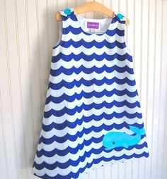 Whale Dress in Blue  Jumper Sizes 1218 mos 2T 3 4 by thetrendytot, $52.00 #whale #nautical