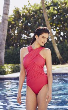 Criss Cross One Piece Swimsuit in watermelon