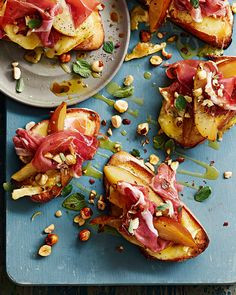 Posh cheese on toast topped with two types of cheese, parma ham, sweet roasted pears and crunchy hazelnuts. Serve as a starter or for lunch.