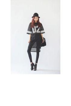Ribbed Point Mesh Dress|stylenanda