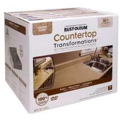 Invigorate the classic look of your countertops with the addition of this Rust-Oleum Transformations Desert Sand Large Countertop Kit. Easy to set up. Rustoleum Countertop Transformations, Countertop Refinishing Kit, Countertop Paint Kit, Painting Countertops, White Countertops, Bathroom Countertops, Painting Cabinets, Painted Laminate Countertops, Rustoleum Cabinet Transformation