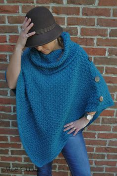 Teal Poncho - MB Stitches