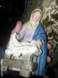 Figuras de Belén: Figura de PORTAL belen pesebre en barro terracota, de Ramón Amadeu, S.XVIII virgen y niño jesus - - Foto 3 - 68112617