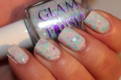 Cloud Atlas - Multiple sizes and colors of pastel dots with fine ocean holo glitter in a white crelly base. This one is soft and luscious - and really camera shy! It looks so much better in person!