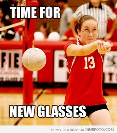 Time for new glasses - Funny volleyball girl who missed the ball by a mile.