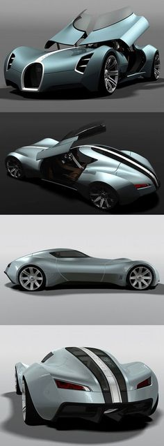 ♂ Concept car Bugatti Aerolithe opens the doors upwards to lift the dashboard