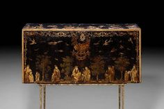 An 18th Century Italian Black Japanned Lacca Povera Table Cabinet, Lacquered and Ebonized Chinoiserie Chest.