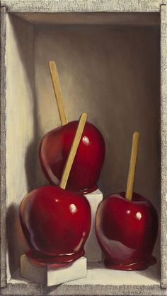 1stdibs | Denise Mickilowski - 3 Candy Apples With 2 White Boxes