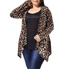 Looking for uxcell Women's Plus Size Leopard Print Asymmetric Open Front Fashion Cardigan ? Check out our picks for the uxcell Women's Plus Size Leopard Print Asymmetric Open Front Fashion Cardigan from the popular stores - all in one. Leopard Print Outfits, Leopard Print Cardigan, Beige Cardigan, Leopard Prints, Drape Cardigan, Leopard Coat, Looks Plus Size, Plus Size Model, Cardigans For Women