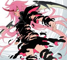 Blue Hair Anime Boy, Anime Girl Pink, Cool Anime Girl, Kawaii Anime Girl, Otaku Anime, Manga Anime, Anime Art, Demon Art, Anime Demon