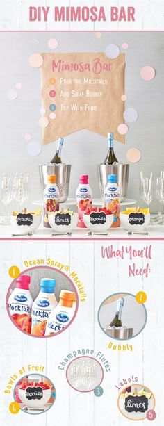 A bright and bubbly mimosa bar with a twist. Start with unique Ocean Spray® Mocktails flavors like Cranberry Peach Bellini, Tropical Citrus Paradise and Cranberry Sangria. DIY with these step-by-step essentials! #HappierHour