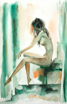 Figure Watercolor Painting Art Print 12x18, Woman Nude Abstract Art #wallart #watercolor