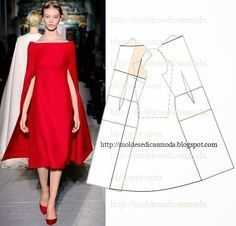 boat neck cape dress - would love to own this! Fashion Sewing, Diy Fashion, Ideias Fashion, Fashion Dresses, Diy Clothing, Sewing Clothes, Dress Sewing Patterns, Clothing Patterns, Pattern Dress