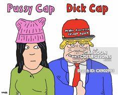 Pussy Cap/D**k Cap - Cartoon Collections Trump Cartoons, Political Cartoons, Funny Cartoons, Politics, Cap, Humor, Comics, Baseball Hat, Humour
