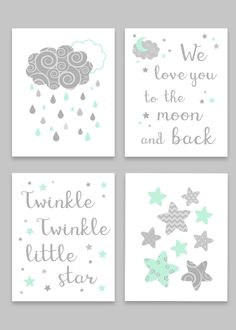 Grey and Mint Nursery Art, Sun Moon and Stars, Gender Neutral Baby Decor, Twinkle Twinkle Little Star, We Love You To The Moon And Back - Baby Room Mint Nursery, Nursery Decor Boy, Star Nursery, Nursery Art, Nursery Ideas, Nursery Prints, Nursery Quotes, Girl Decor, Room Decor