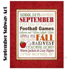 Prim Vintage Folk Art Style PRINT ONLY 8x10 Autumn Fall Typography Subway Art