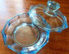 Depression glass Art Deco 1930's cut glass dish blue Decorative Easter sale