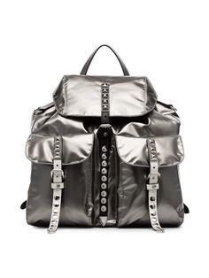 Prada metallic silver studded straps PU and leather backpack Dolce & Gabbana, Zac Posen, Valentino Garavani, Rucksack Backpack, Leather Backpack, Stella Mccartney, Chloe, Prada, Saint Laurent