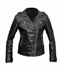 Women's Black Motorcycle Cowhide Vegetable Tanned Leather Jacket