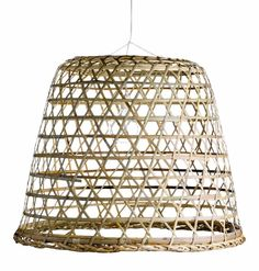 This hanging bamboo basket lamp is a Southeast Asian market basket turned into a lampshade, providing decorative lighting over the dining table, kitchen table, or down a hallway. Large Woven Basket, Bamboo Basket, Woven Shades, Bamboo Shades, Hanging Light Fixtures, Hanging Lights, Hanging Lamps, Scandinavian Lighting, Diy Luminaire