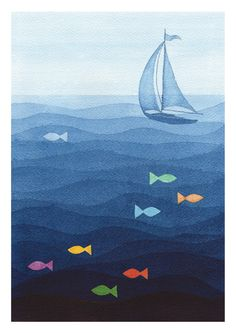 Print sailboat blue watercolor painting wall decor nursery fish illustration by VApinx Nautical Wall Decor, Nursery Wall Decor, Wall Drawing, Art Drawings, Fathers Day Coloring Page, Frida Art, Fish Illustration, Ecole Art, Art Plastique