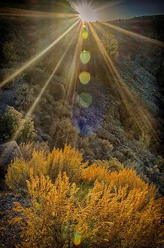 Late afternoon sun setting over Rio Pueblo Gorge in Taos, NM. Real Estate Articles, Real Estate Investor, New Mexico, Wyoming, Montana, Rio, Colorado, Country Roads, Sunset