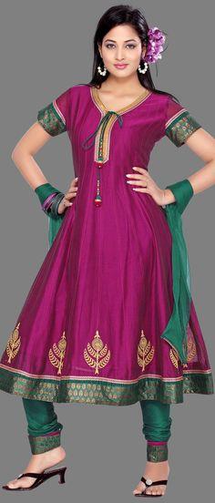 #Magenta Chanderi #Silk Churidar Kameez