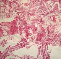 ANTIQUE FRENCH LINEN TOILE DE JOUY