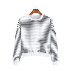 SheIn(sheinside) Round Neck Striped White Sweatshirt ($13) ❤ liked on Polyvore featuring tops, hoodies, sweatshirts, white, sweatshirts hoodies, long sleeve pullover, long sleeve tops, striped pullover and stripe top