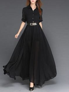 Black Chiffon Buttoned Shirt Collar Half Sleeve Maxi Dress - - Black Chiffon Buttoned Shirt Collar Half Sleeve Maxi Dress Source by Stylish Dresses, Casual Dresses, Fashion Dresses, Hijab Casual, Maxi Dress With Sleeves, Dress Skirt, Swing Dress, Vestidos Chiffon, Chiffon Maxi