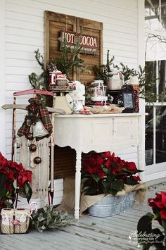 front porch hot cocoa bar - this could be a cute idea after getting a tree, a snowball fight, sledding, or just a fun way to get friends & neighbors together