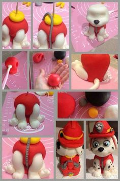 This PAW Patrol Marshall birthday cake is so cute! Perfect for your little one's PAW Patrol birthday party. Torta Paw Patrol, Paw Patrol Cake Toppers, Paw Patrol Cupcakes, Cake Topper Tutorial, Fondant Tutorial, Fondant Cake Toppers, Cupcake Cakes, Bird Cakes, Decors Pate A Sucre