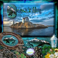 Adobe photoshop Topaz filter on dolphins-internet; & Main photo from internet. Lots of work & creativity went into this scrap, name Ocean's Alive--an very fitting name! Photoshop 7, My Scrapbook, Dolphins, Topaz, Filter, Creativity, Internet, Ocean, Birds