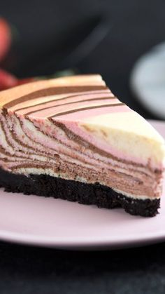 Recipe with video instructions: This jazzy Neopolitan Zebra Cheesecake will clearly earn you some stripes. Ingredients: For the crust:, 60 chocolate wafers, 4 tablespoons butter, melted, Savory Cheesecake, Cheesecake Recipes, Dessert Recipes, Chocolate Cream Cheese, Chocolate Wafers, Just Desserts, Delicious Desserts, Mousse, Pie