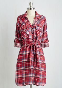 You're My Lumber One Dress. We all have that go-to everyday style, and yours is about to be this red, white, and blue shirt dress. #red #modcloth