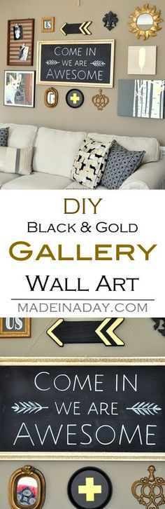 DIY wall art,  gallery wall makeover. Make wall art from items you already own, up cycling them to reuse in a living room makeover and gallery…