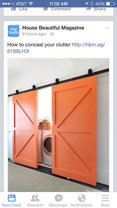 Barn doors on laundry room (moved to hallway)