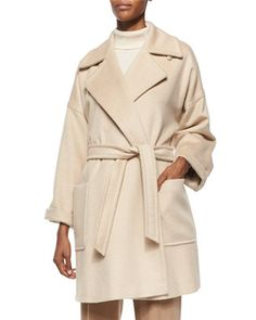 Velia+Camel+Hair+Short+Wrap+Coat+by+Max+Mara+at+Bergdorf+Goodman.